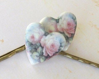 Heart Shaped Bobbies. Pink Cabbage Roses on White Porcelain. Rose. Soft Blue. Green. Set of Two. Shabby Chic. Antiqued Gold. Cottage Garden