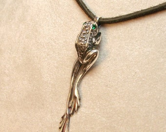 Frog Pendant - Sterling Silver Frog with Emerald Eyes, it comes with your choice of chain