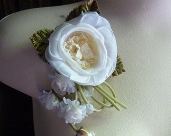 SALE Ivory Silk Satin Rose Millinery Corsage for Bridal, Hats, Sashes, Gowns MF 238