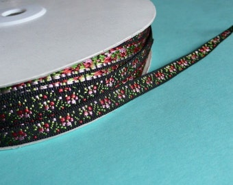 2 yds. Black Pink Swiss Embroidered Rose Trim for Garments, Headbands, Costumes TR 234