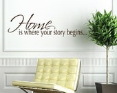 Home is Where Your Story Begins - vinyl wall words - vinyl home decal - family decals - photo decals - entry foyer decor