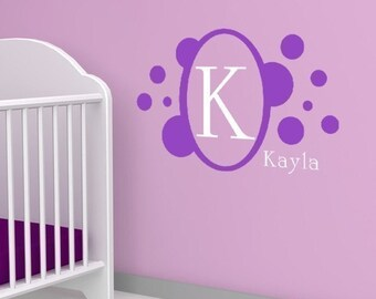Personalized Vinyl Decal  - monogram name decal for girl room - circle dots - nursery name wall decor