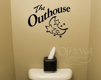 Outhouse vinyl decal, Bathroom decor, Wall decal for bathrooms, funny bathroom, country primitive decor