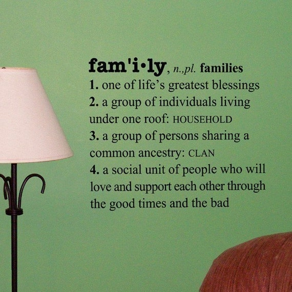 Family Definition vinyl wall words decal, dictionary decals, nursery, family photo display