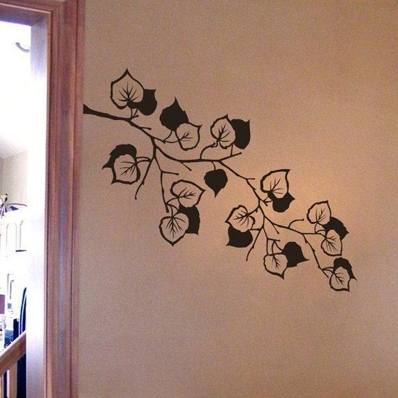 Ivy Branch decal, vine with leaves vinyl decal, wall art design, bedroom decor, bathroom decal, entryway vinyl