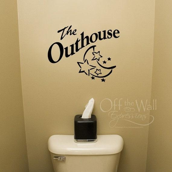 Outhouse vinyl decal bathroom decor wall decal for for Bathroom wall decor vinyl