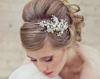 Bridal Headband, Rhinestone Wedding Tiara with Wired Flowers and Pearls Wedding Headpiece Rhinestone Tiara, Wedding Hair, Crystal Tiara