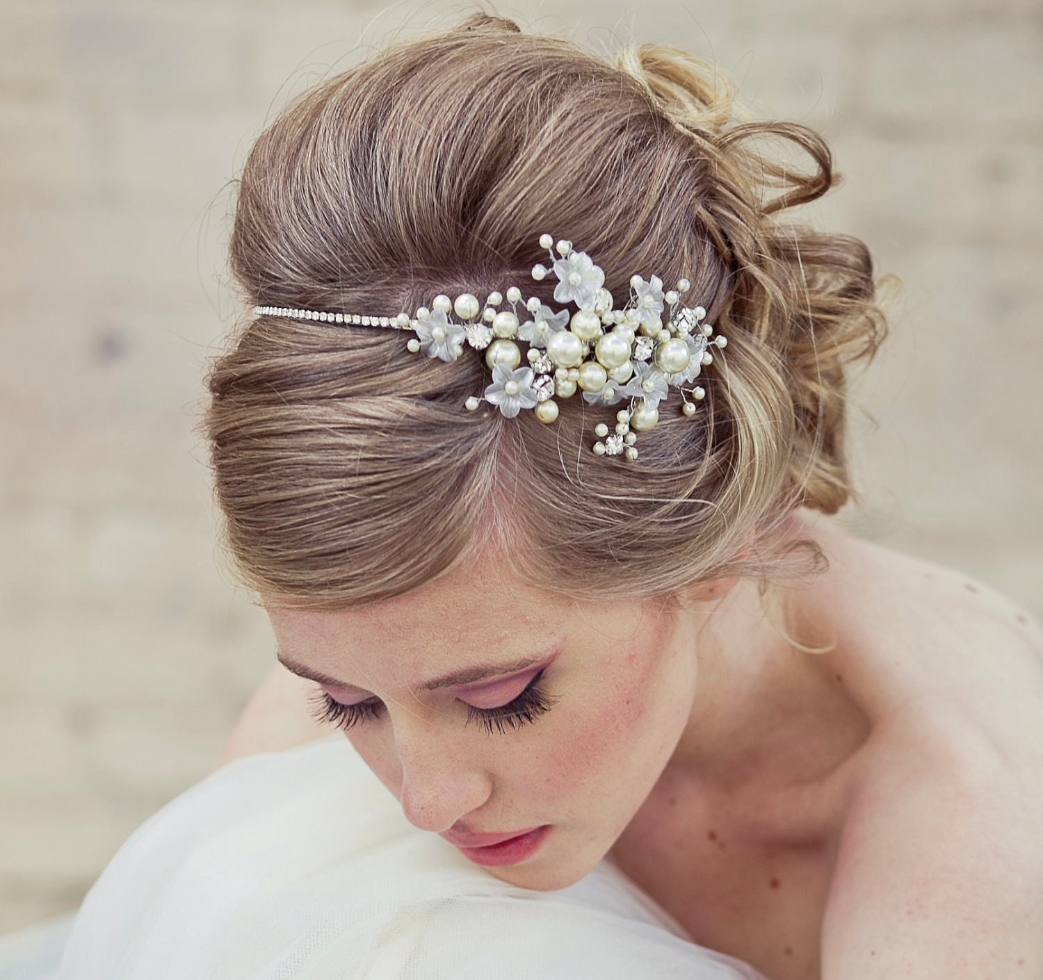 Wedding Hairstyle With Headband: Bridal Headband Rhinestone Wedding Tiara With Wired Flowers