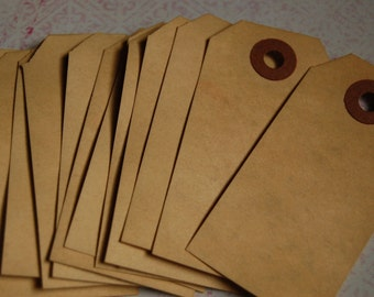 25 Small Tea Stained Manilla Shipping Tags 3 1/4 x 1 5/8 -- Ready to Ship
