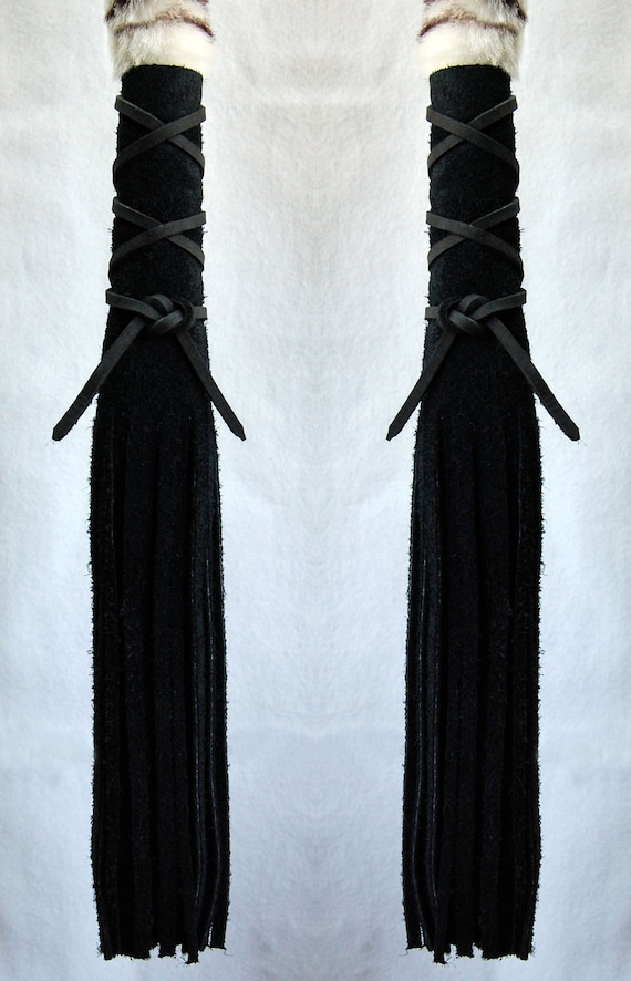 Black Suede Leather Hair Wraps - Native American Inspired, Fringed Leather Hair Ties