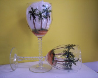 2 Palm Tree Handpainted Wine Glasses
