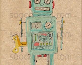 robot vintage toys  -Digital Image Sheet -Original Illustrate Drawing  A4 Print transfer on Pillows, t-shirts, scrapbook, lampshades  ETC.v