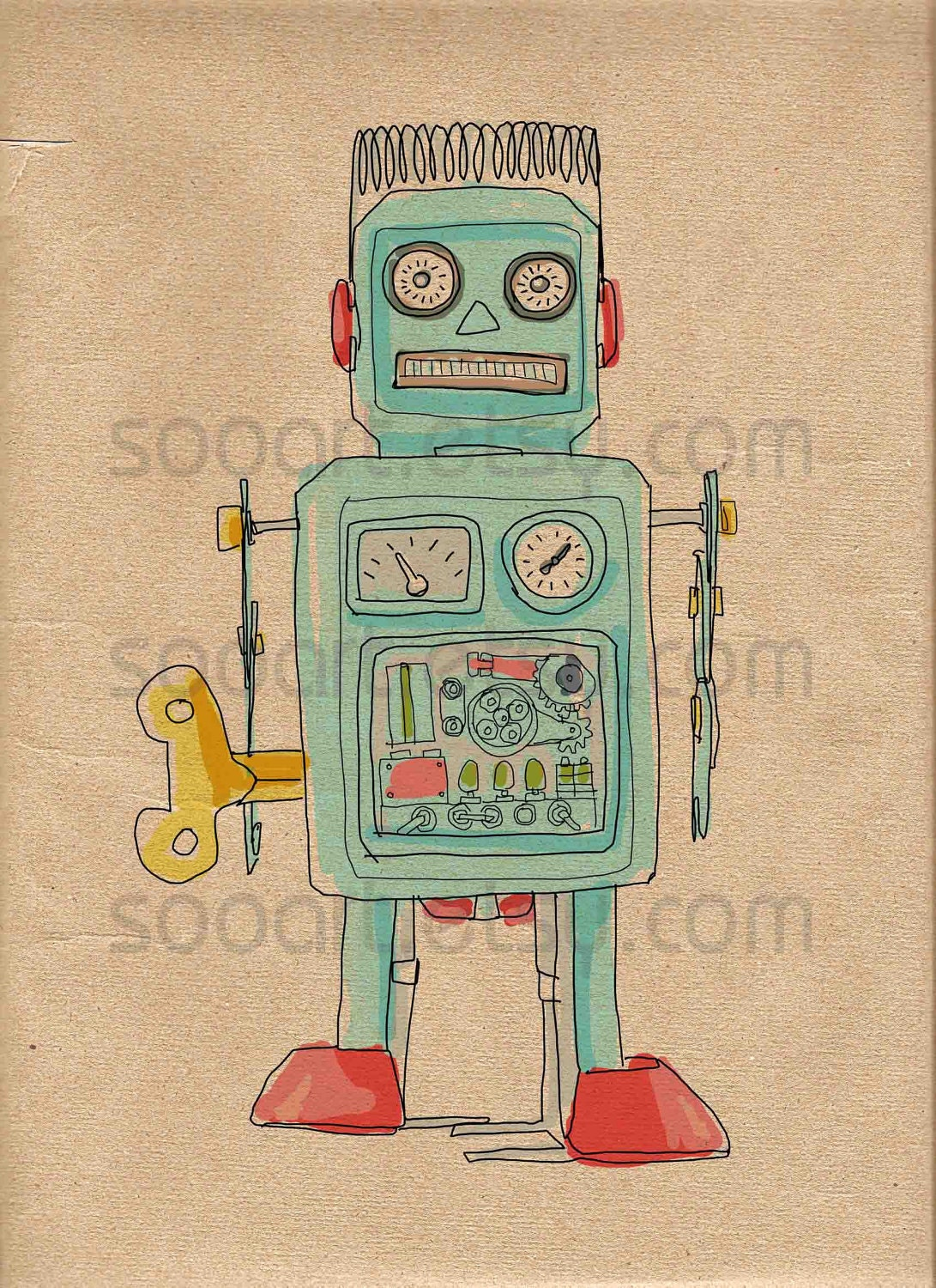 Pics for vintage robot drawing - Retro vintage ...