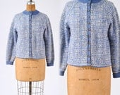 Vintage 1950s Nordic Sweater, Paul Mage Denmark Blue Wool Ski Cardigan,Hand Knit Snowflake Pattern, Winter Sportswear