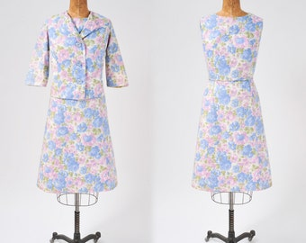 Vintage 1950s Floral Dress Set, Cotton Two Piece Jacket and Dress Set, Blue & Pink Pastel Rose Print, Women's Clothing, Dresses