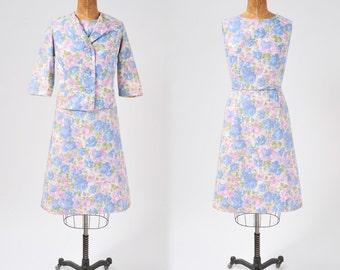 Vintage 1950s Floral Dress Set, Cotton Two Piece Jacket and Dress Set, Blue & Pink Pastel Rose Print, Women's Clothing, Dresses