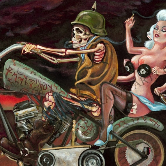 Wheels of Fortune 11 x 17 print motorcycle grim reaper lady luck rock n roll dark chopper art