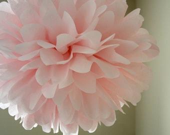 BLUSH / 1 tissue paper pompom / wedding decor / baby shower pink / nursery decorations / light pink pom decoration / mothers day / baby girl