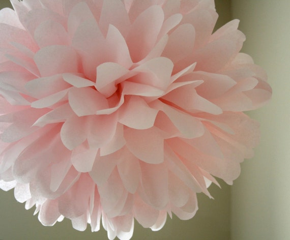 BLUSH / 1 tissue paper pom pom / wedding decorations / diy / baby pink decorations / nursery decorations / light pink pom decorations / poms