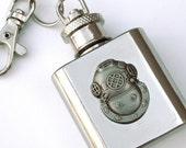 Steampunk Flask Keychain Nautical Diving Helmet Flask 1 Oz  Miniature Size Gfts Men's Steampunk Accessories