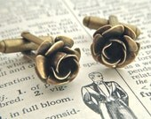 Rose Cufflinks Gothic Victorian Steampunk Antiqued Brass Metal Flowers Classy Small Size Vintage Inspired Men's Accessories