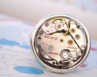 Steampunk Ring Adjustable Silver Plated Wide Band Red SEIKO Japan Vintage Watch Movement Round Movement Unisex For Men or Women