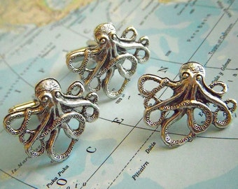 Octopus Cufflinks & Tie Tack Set of 3 Silver Plated Men's Accessories Nautical Steampunk Gifts Men From Cosmic Firefly