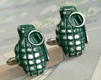 Hand Grenade Cufflinks Hardcore Men's Accessories & Gifts Rustic Green Metal