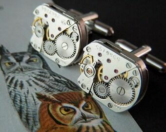Steampunk Cufflinks Vintage Rectangular Owl Head Shape