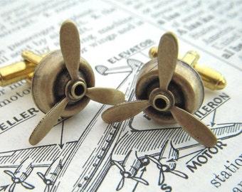 Steampunk Cufflinks Propeller Cufflinks Men's Cufflinks Antiqued Brass Metal Men's Accessories Spinning Cufflinks Spinners Made In USA