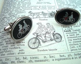 Vintage Bicycle Cufflinks TANDEM BIKE Cufflinks Steampunk Cufflinks Men's Antique Cufflinks