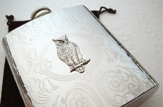 Silver Owl Flask Vintage Inspired Silver Flask Stainless Steel 8 oz Gothic Victorian Woodland Flask Steampunk Flask Women's Gifts