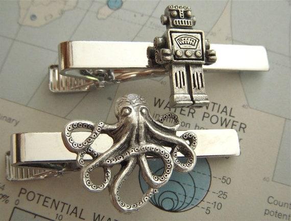 Men's Tie Clips Robot Tie Clip & Octopus Tie Clip Set of 2 Men's Tie Clips Steampunk Accessories Groomsman Gifts Cosmic Firefly Las Vegas