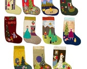 Personalized Handmade CHRISTMAS STOCKINGS.. Lined.. Retro Folk Art Style... Heirloom Quality... choose your design