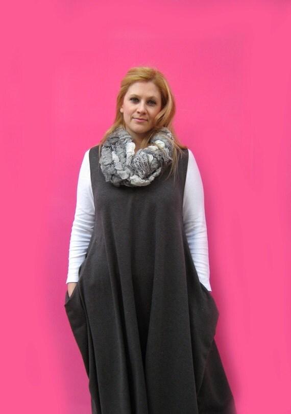 DRESS versatile GREY dress for full figures, plus size,curvy women, breastfeeding and maternity fashion