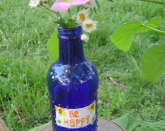 Painted Cobalt Blue Bottle Vase Upcycled for Children's Mission Project - OOAK by an EtsyMom