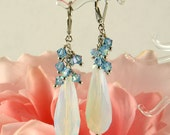 Opal glass earrings, Swarovski crystal statement earrings