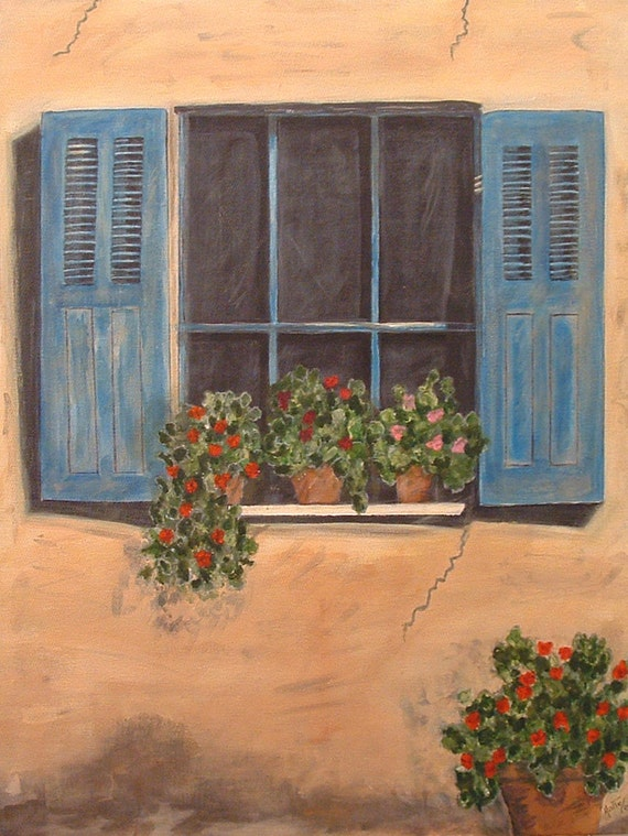 Looking out of the window  Original Painting, Latin American Art - By Maite