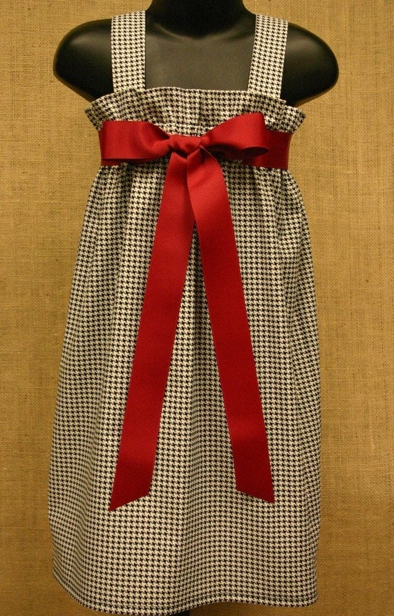 Black and White Houndstooth Zadee Dress - Alabama Roll Tide Dress...Game Day Dress...Girls Jumper...Girls Houndstooth Dress