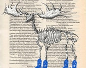 Art print Moose wearing Cowboy Boots on Vintage Shakespeare book page.