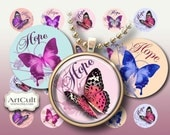 1 inch (25mm) and 1.5 inch size images HOPE Circles Digital Collage Sheets Printable downloads for pendants magnets bottle caps bezels