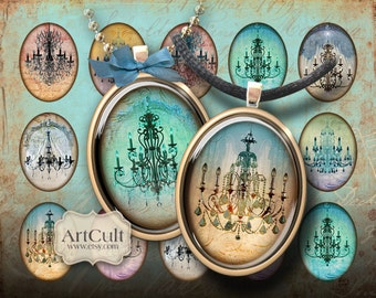 Printable download CHANDELIERS Oval Images 30x40 mm Digital Collage Sheet for pendants bezel trays magnets paper goods ArtCult graphics