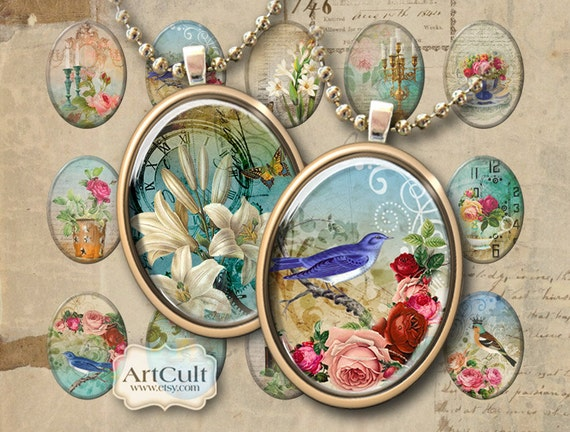 Oval 30x40 mm Images DREAMLAND Digital Collage Sheet Printable Download for pendants bezel cabs magnets key chains craft projects ArtCult