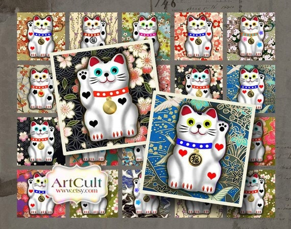 """1""""x1"""" (25x25mm) and 7/8x7/8 inch images LUCKY CAT Digital Collage Sheet Printable downloads for square pendant trays bezel settings magnets"""