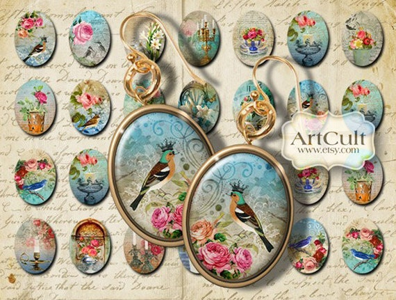 Oval 18x25 mm images DREAMLAND Printable Download Digital Collage Sheet for Earrings Charms magnets key chains bezel settings craft projects