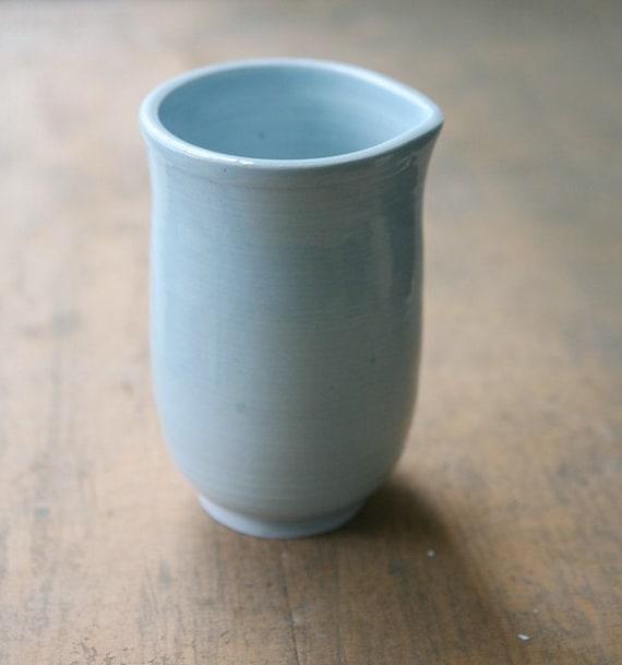 Wheel Thrown porcelain light blue handle-less pitcher