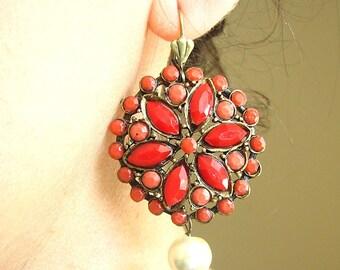Dangle Earrings Coral Jewelry Red Earrings Coral Earrings Drop Earrings Bridesmaid Gift