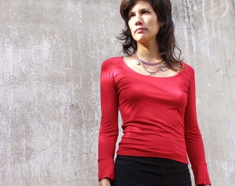 Basic womens top in red- A casual Victorian top-Womens blouse-Long sleeves blouse-Made to order Choose your color