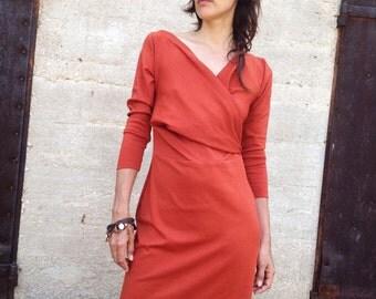 Long Sleeve Dress-origami Dress-2 Way Dress-knee Length Dress- Convertible Dress-winter Dress