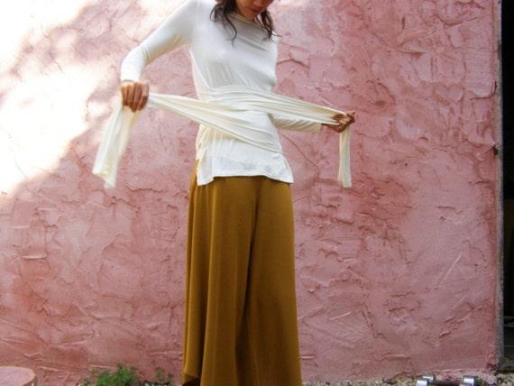 Long sleeve womens top- White womens wrap top -The Woman warrior top-Womens clothing-Wrap shirt-Custom top-White womens blouse